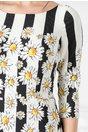 Rochie Leonard Collection alba cu dungi negre si imprimeu floral