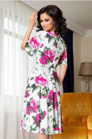 Rochie Leonard Collection alba in clos cu imprimeu floral fucsia