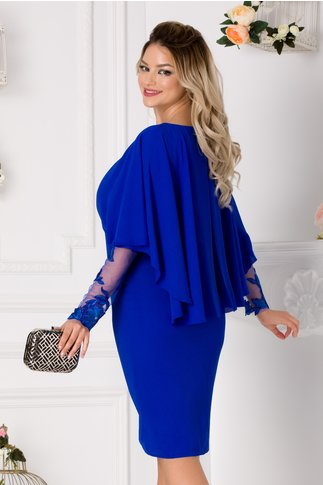 Rochie Leonard Collection albastra cu broderie florala in talie si voal tip capa
