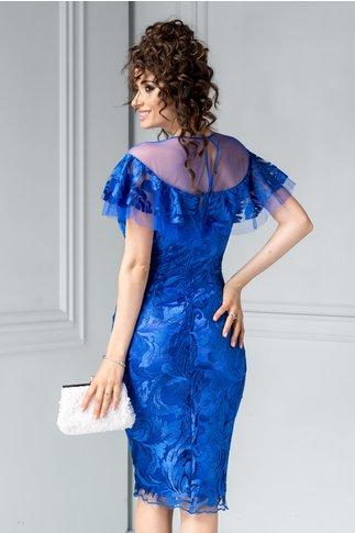 Rochie Leonard Collection albastra de lux de seara din broderie