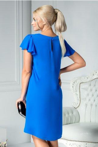 Rochie Leonard Collection albastra larga cu pliuri