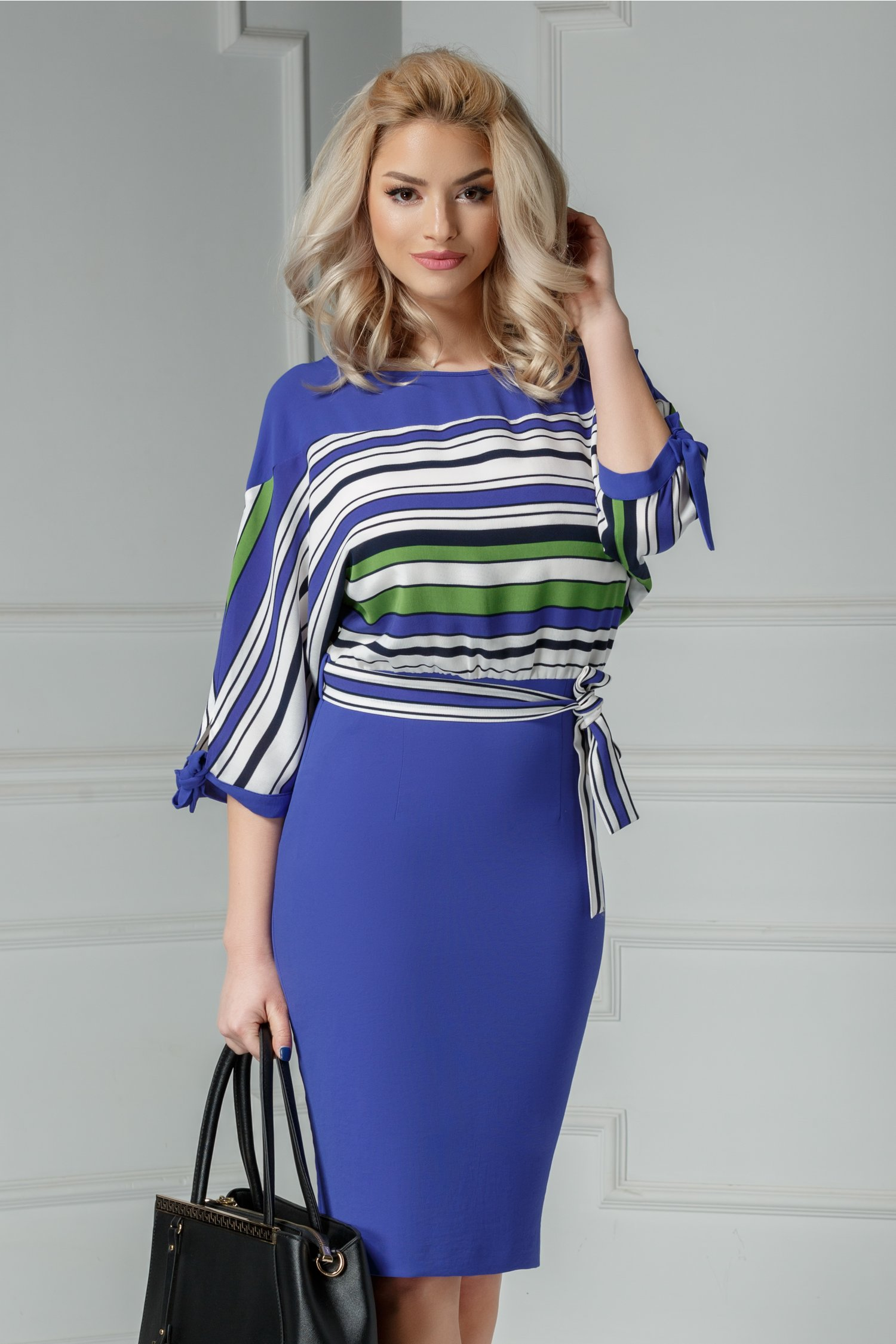 Rochie Leonard Collection albastra office cu dungi
