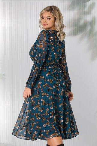 Rochie Leonard Collection albastru petrol cu imprimeuri florale