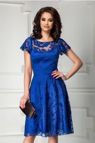 Rochie Leonard Collection albastru regal din broderie de seara