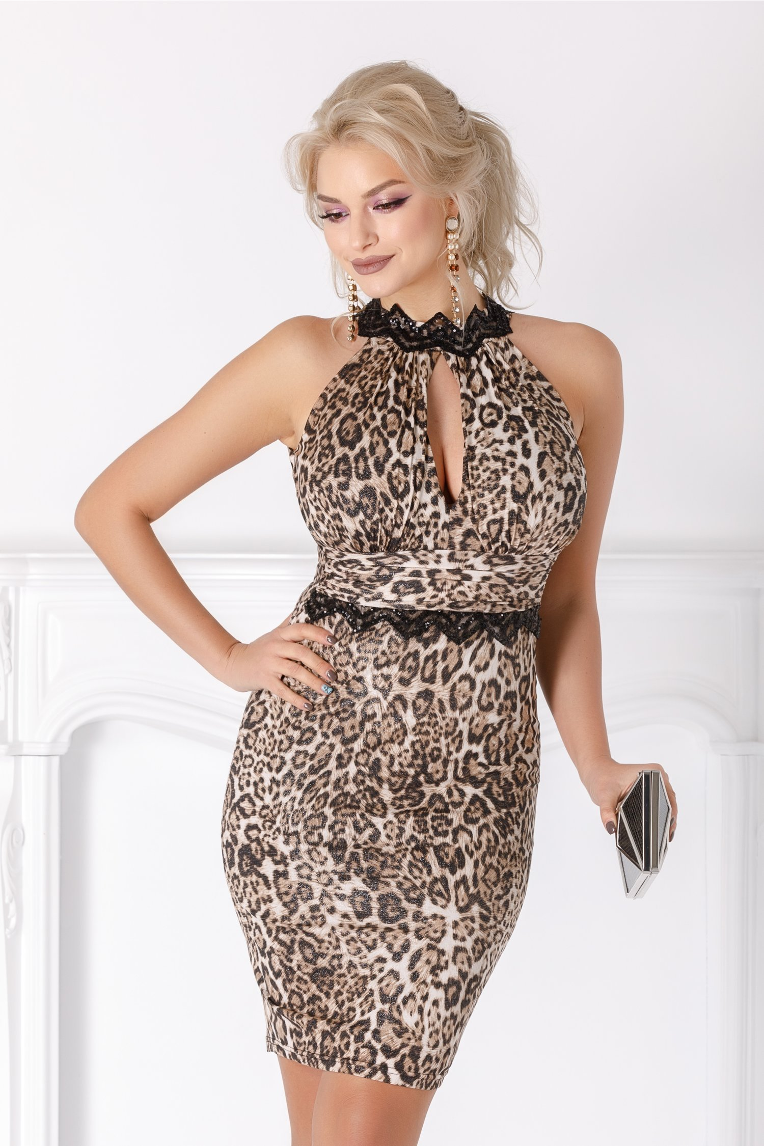 Rochie Leonard Collection bej cu animal print si paiete