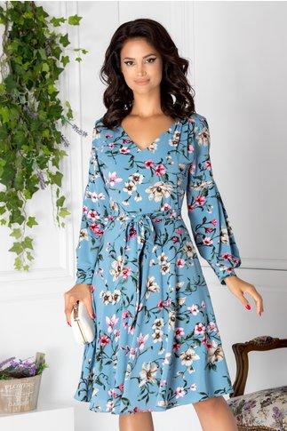Rochie Leonard Collection bleu cu imprimeu floral