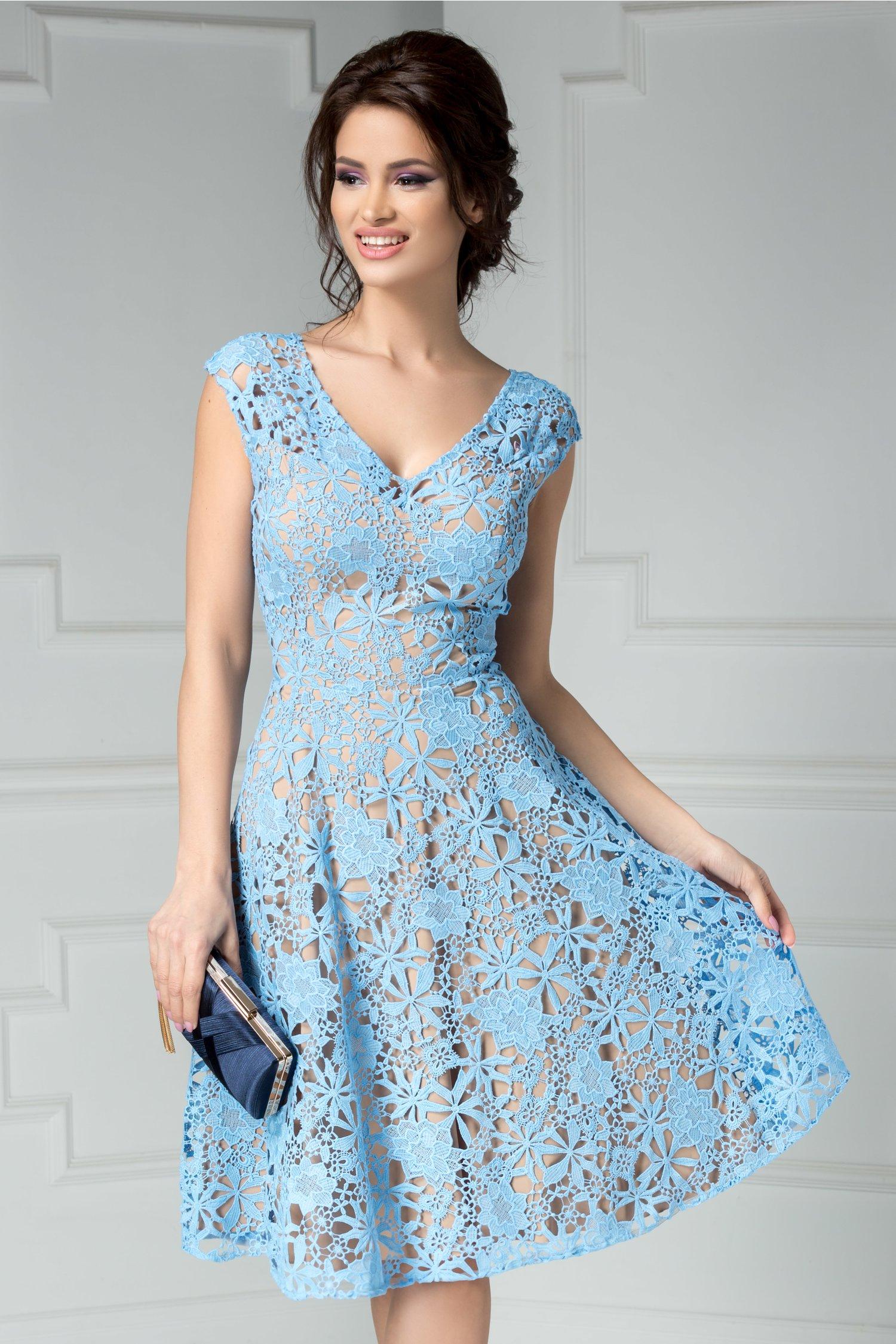 Rochie Leonard Collection bleu din broderie de seara