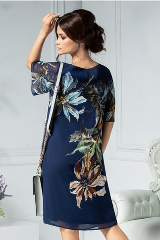 Rochie Leonard Collection bleumarin cu flori mari