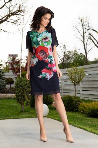 Rochie Leonard Collection bleumarin cu flori maxi si maneci evazate