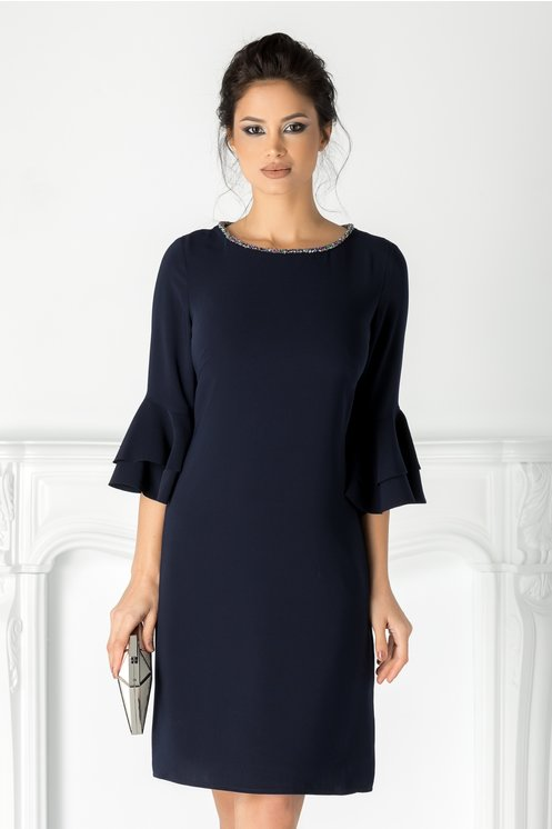 Rochie Leonard Collection bleumarin cu margelute la guler
