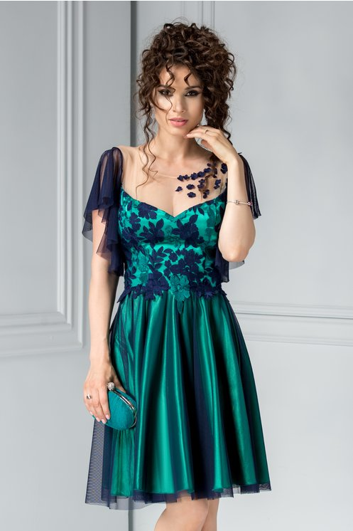 Rochie Leonard Collection bleumarin cu verde cu broderie de seara