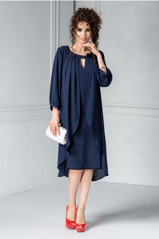 Rochie Leonard Collection bleumarin cu voal eleganta
