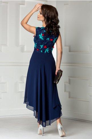Rochie Leonard Collection bleumarin de seara cu trena
