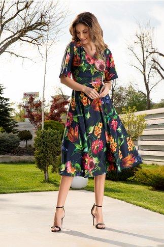 Rochie Leonard Collection bleumarin in clos cu imprimeu floral
