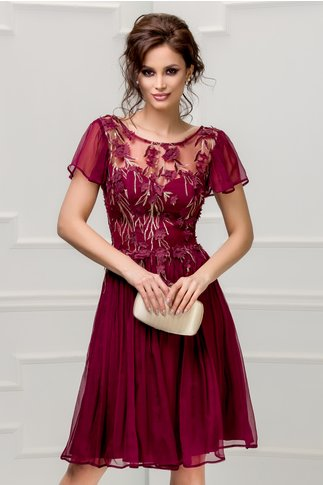 Rochie Leonard Collection bordo din matase naturala de seara