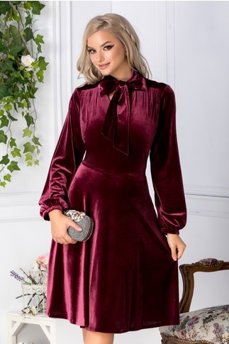 Rochie Leonard Collection burgundy din catifea