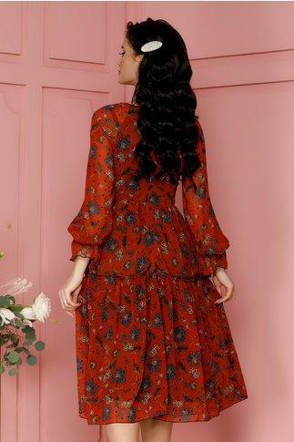 Rochie Leonard Collection caramizie cu imprimeuri florale si buline carifelate
