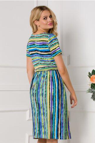 Rochie Leonard Collection cu dungi multicolore