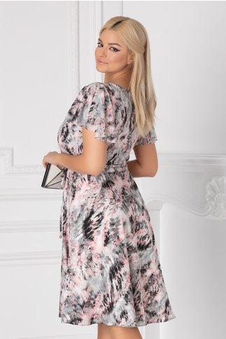 Rochie Leonard Collection cu imprimeu roz-gri si maneci scurte