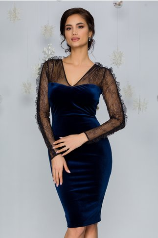 Rochie Leonard Collection din catifea bleumarin cu dantela si glitter