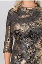 Rochie Leonard Collection din catifea neagra cu imprimeuri aurii