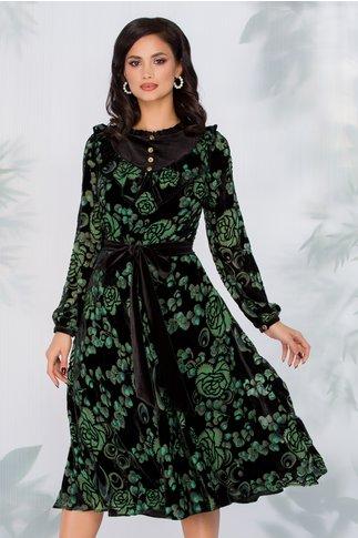 Rochie Leonard Collection din catifea neagra si imprimeu floral in nuante de verde si gri
