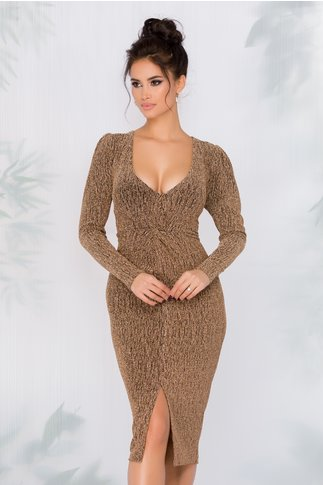 Rochie Leonard Collection din fir lurex auriu
