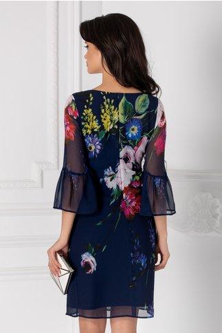Rochie Leonard Collection din voal bleumarin cu imprimeu floral colorat