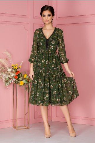 Rochie Leonard Collection din voal verde cu imprimeu floral bej