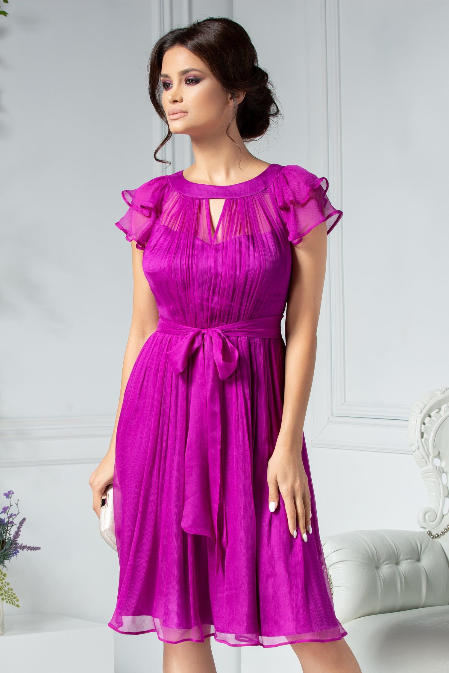 Rochie Leonard Collection fucsia din matase naturala
