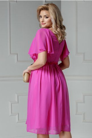 Rochie Leonard Collection fucsia din voal cu broderie