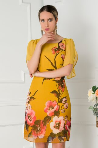 Rochie Leonard Collection galben mustar in degradee cu imprimeu floral