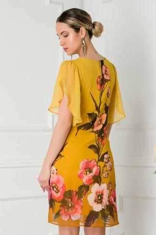 Rochie Leonard Collection galben mustar in degradee cu imprimeu floral