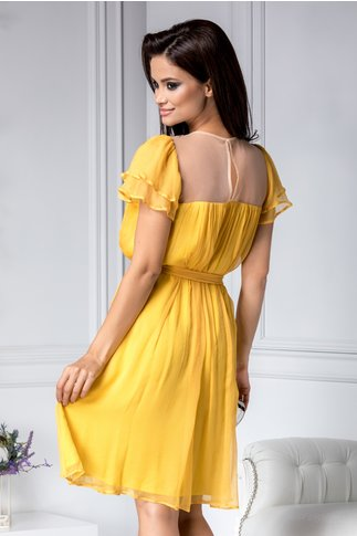 Rochie Leonard Collection galbena din matase naturala
