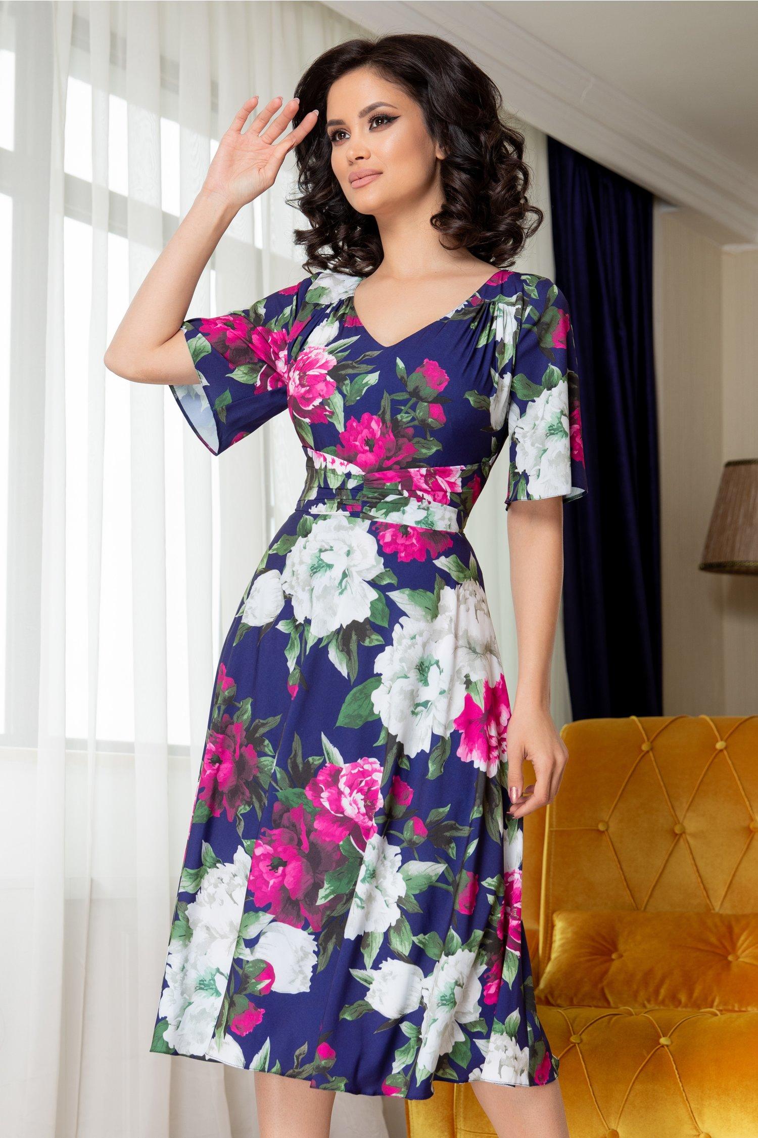 Rochie Leonard Collection indigo cu imprimeu floral