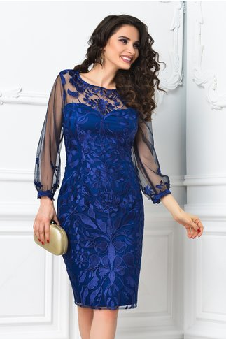 Rochie Leonard Collection Lisa bleumarin din broderie de lux