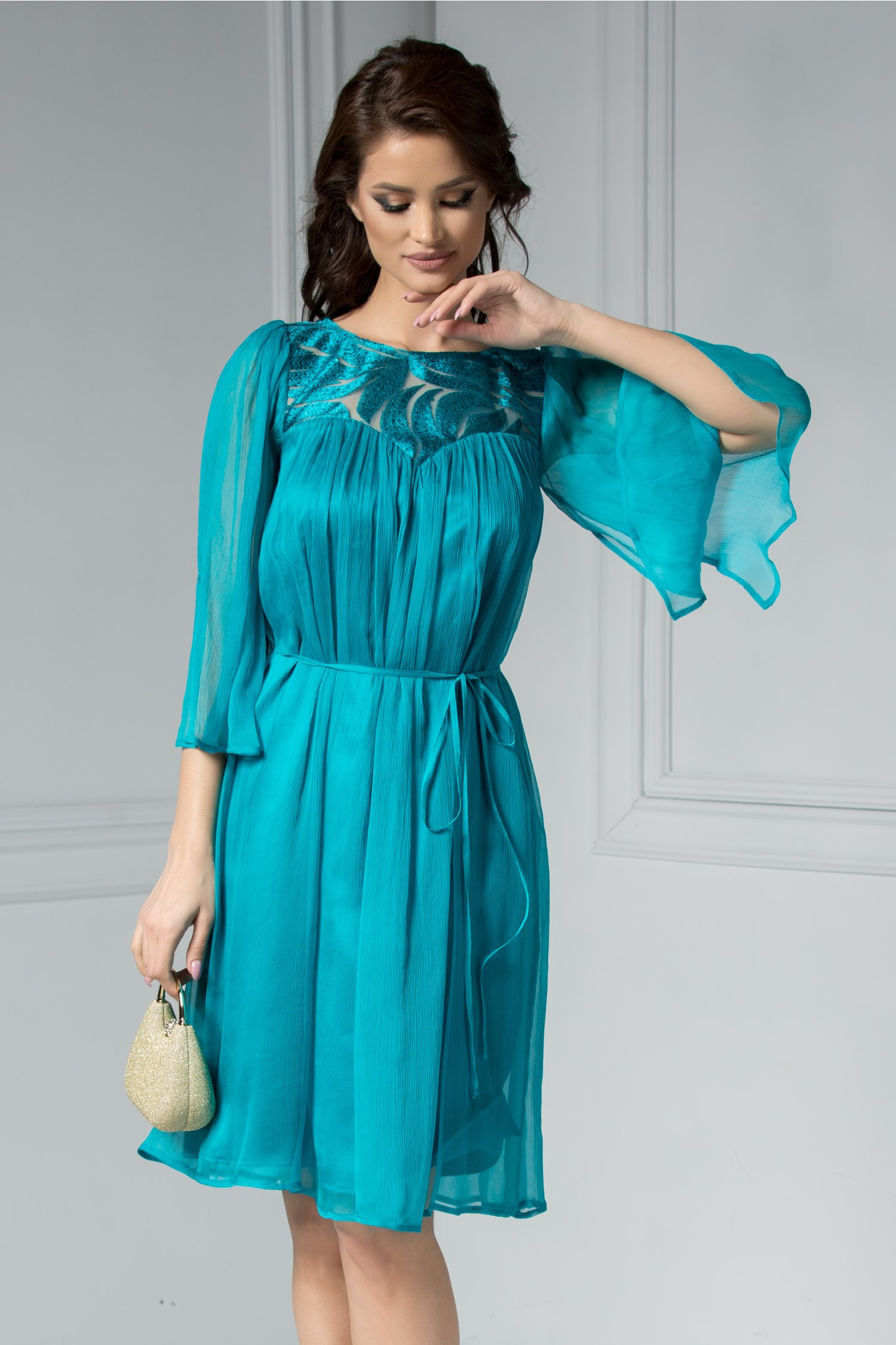 Rochie Leonard Collection Loren verde midi din matase naturala.