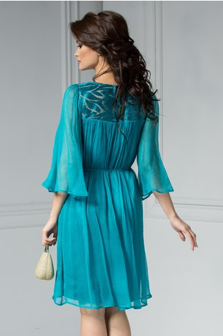 Rochie Leonard Collection Loren verde, midi din matase naturala.