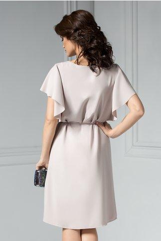 Rochie Leonard Collection Louise bej eleganta cu maneci vaporoase