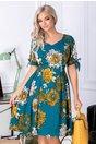 Rochie Leonard Collection lturcoaz cu flori galbene