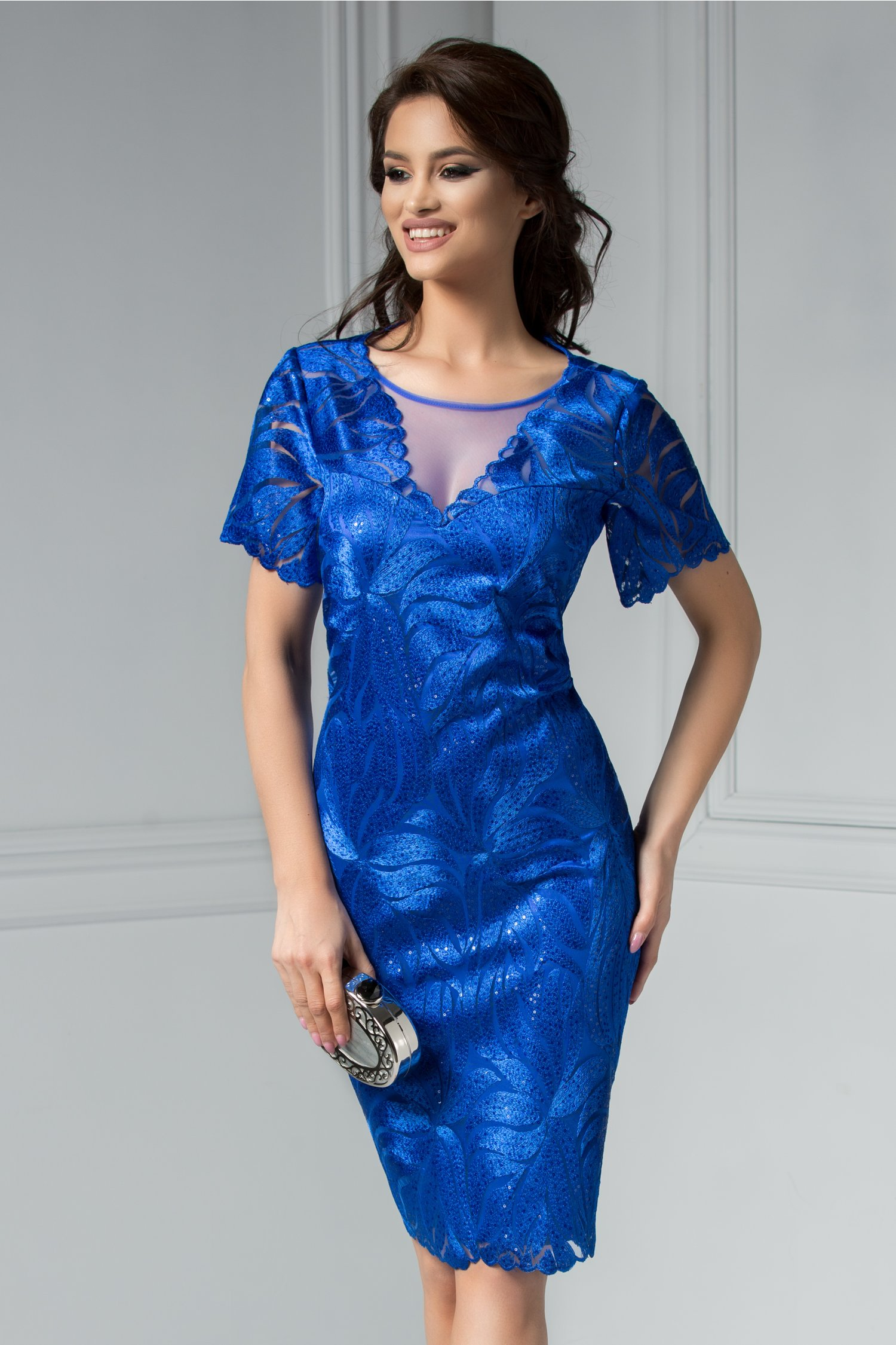 Rochie Leonard Collection Lucy albastra cu broderie si paiete.
