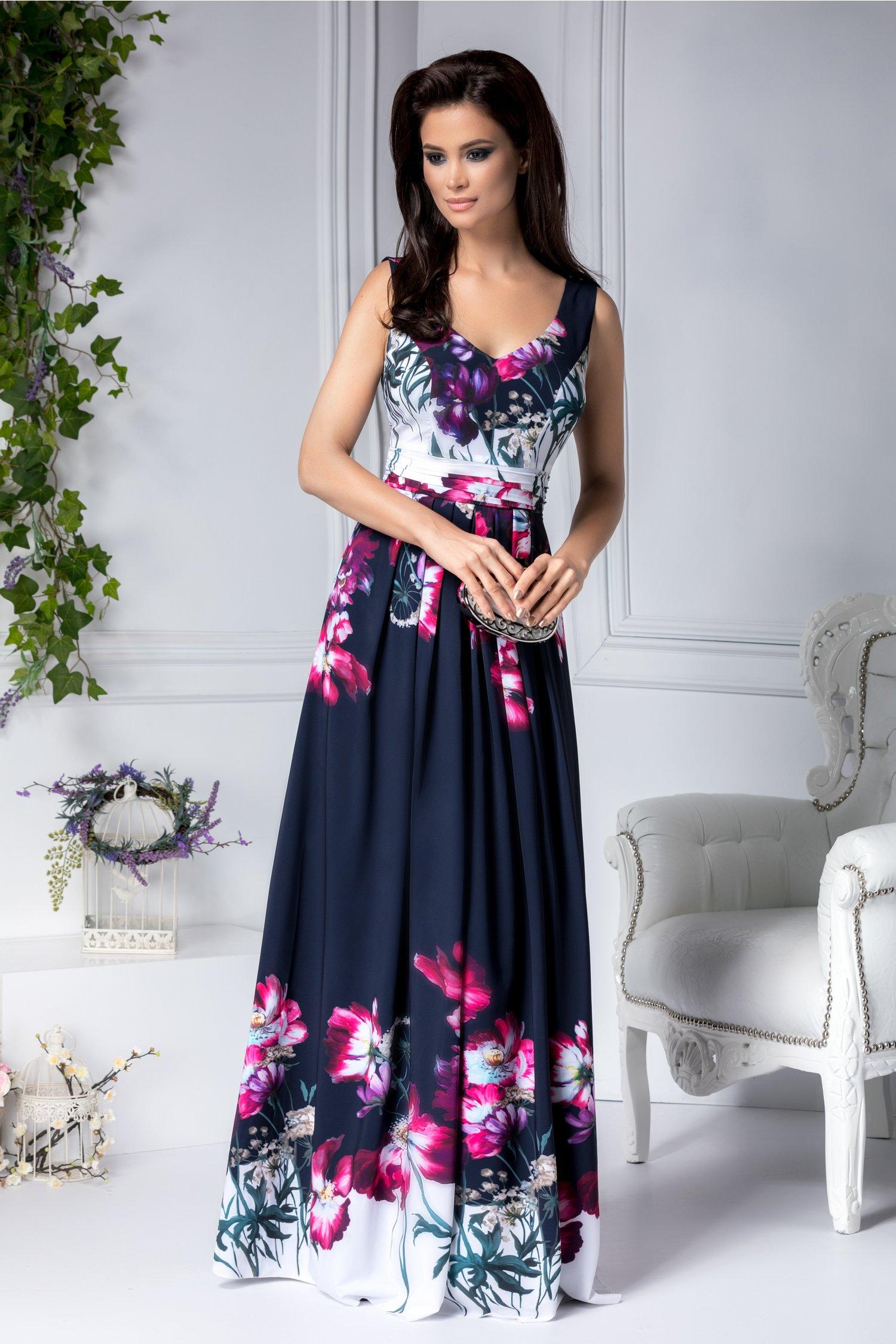 Rochie Leonard Collection lunga bleumarin cu imprimeu floral