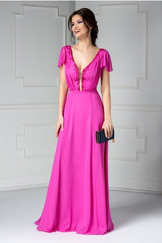 Rochie Leonard Collection lunga fucsia de lux