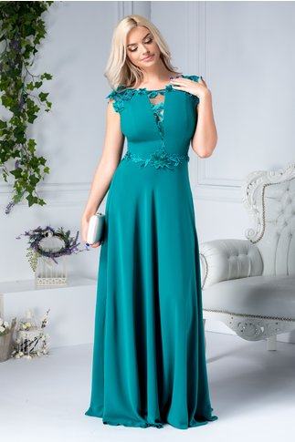 Rochie Leonard Collection lunga verde cu broderie