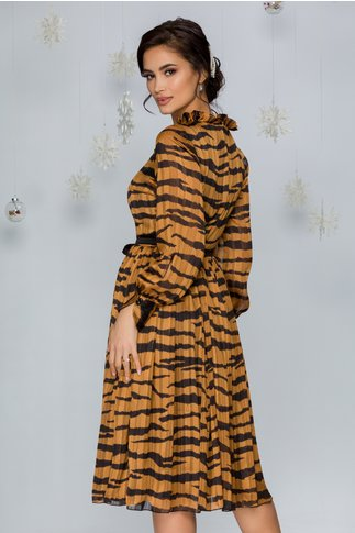 Rochie Leonard Collection maro cu imprimeu negru si insertii aurii