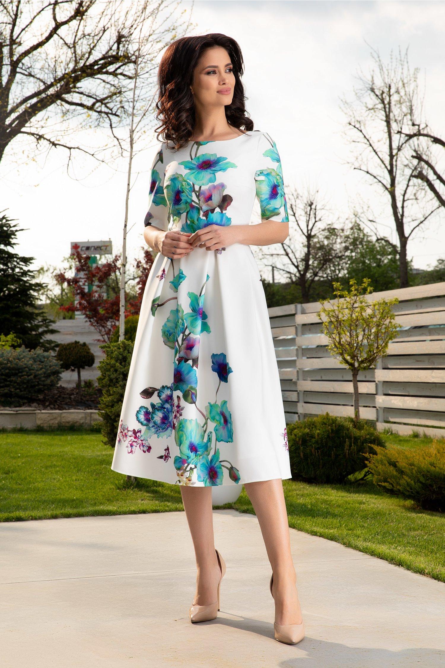 Rochie Leonard Collection midi alba cu imprimeu floral turcoaz