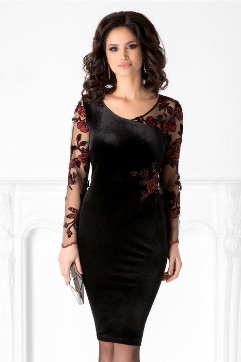 Rochie Leonard Collection neagra cu broderie si paiete rosii