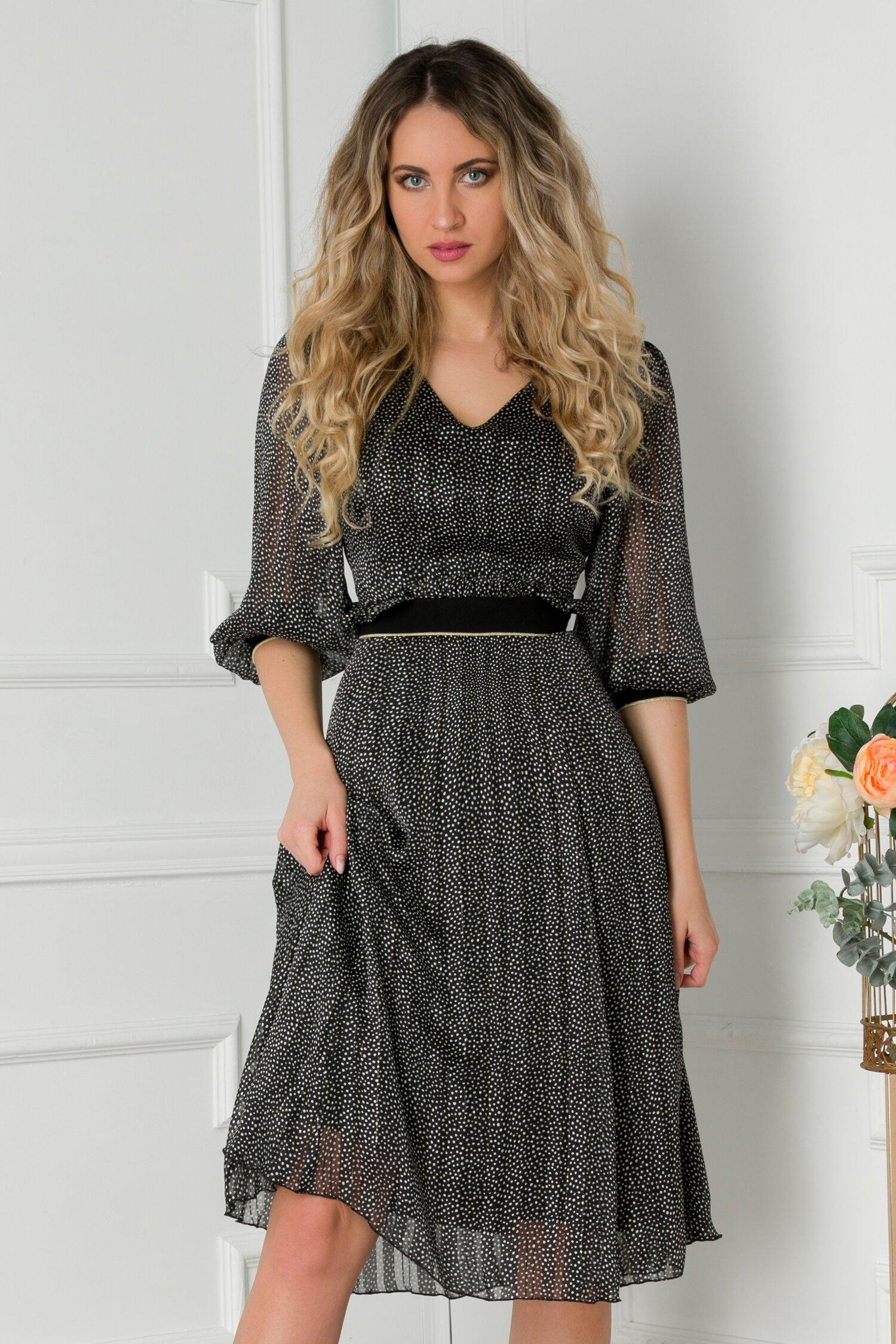 Rochie Leonard Collection neagra cu buline si elastic in talie
