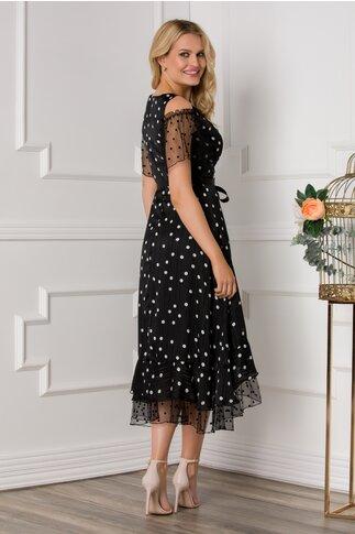 Rochie Leonard Collection neagra cu fir stralucitor si buline albe accesorizata cu tull si buline catifelate