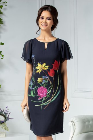 Rochie Leonard Collection neagra cu flori colorate